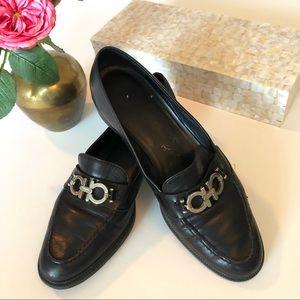 Salvatore Ferragamo silver horsebit black loafers